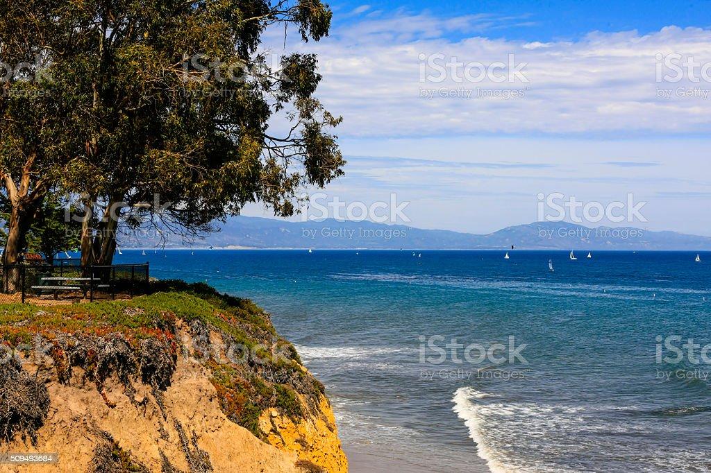 Clifftop view from Shoreline Park in Santa Barbara CA stock photo