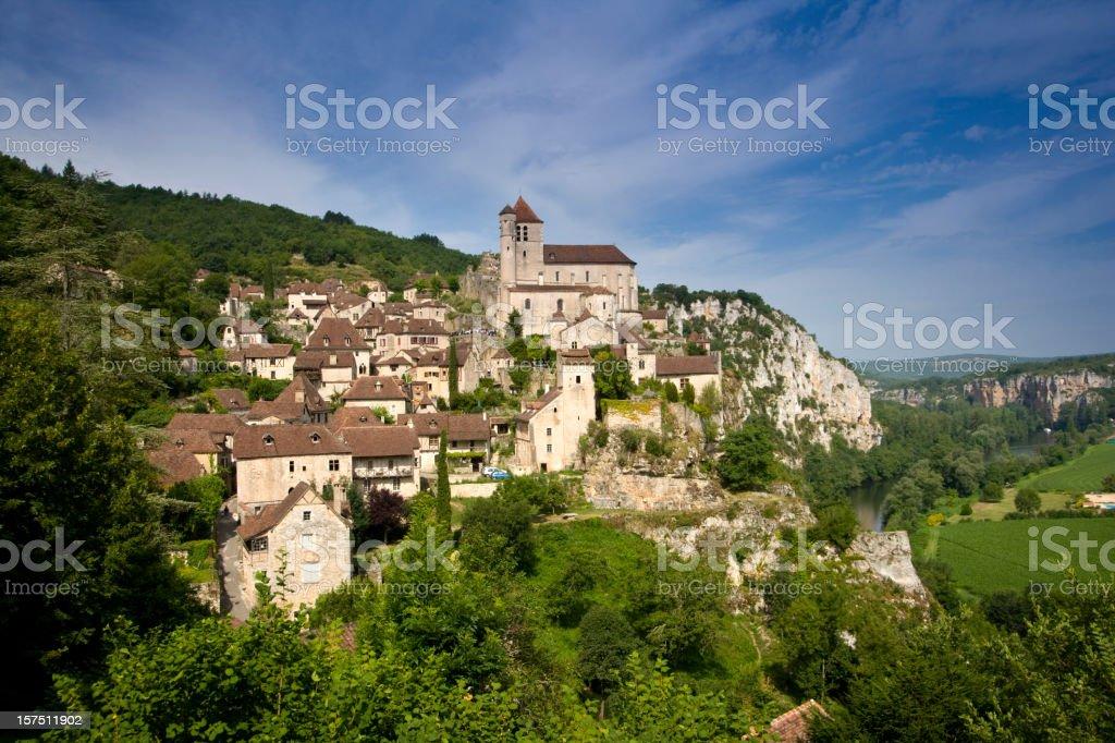 Clifftop village of Saint-Cirq-Lapopie in France stock photo