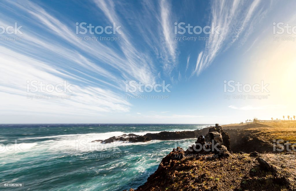 Clifs on the Shore of Easter Island stock photo