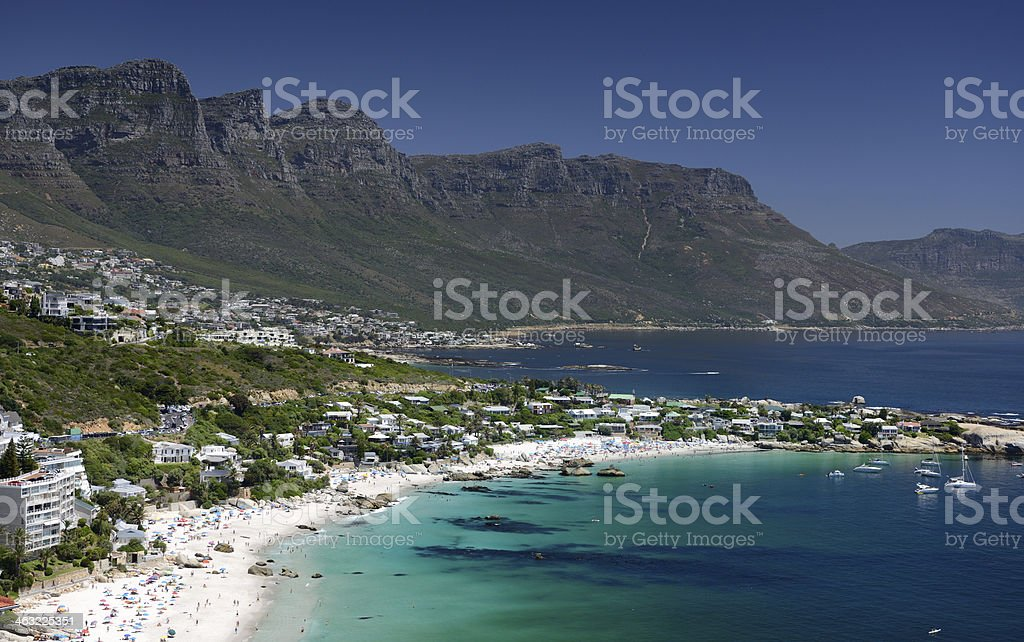 Clifton Beach with 12 Apostles, Cape Town, South Africa stock photo