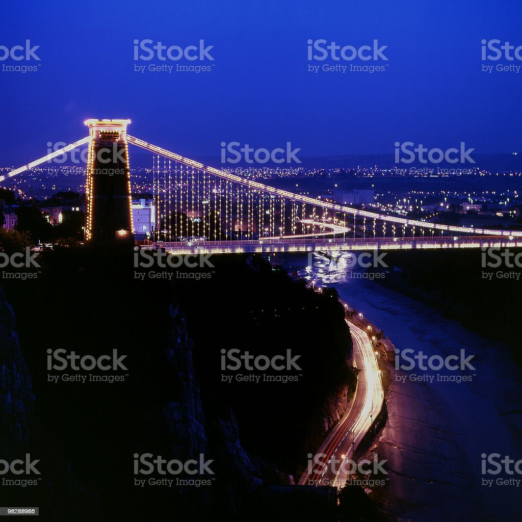 Clifton Suspension Bridge at night in Bristol England stock photo