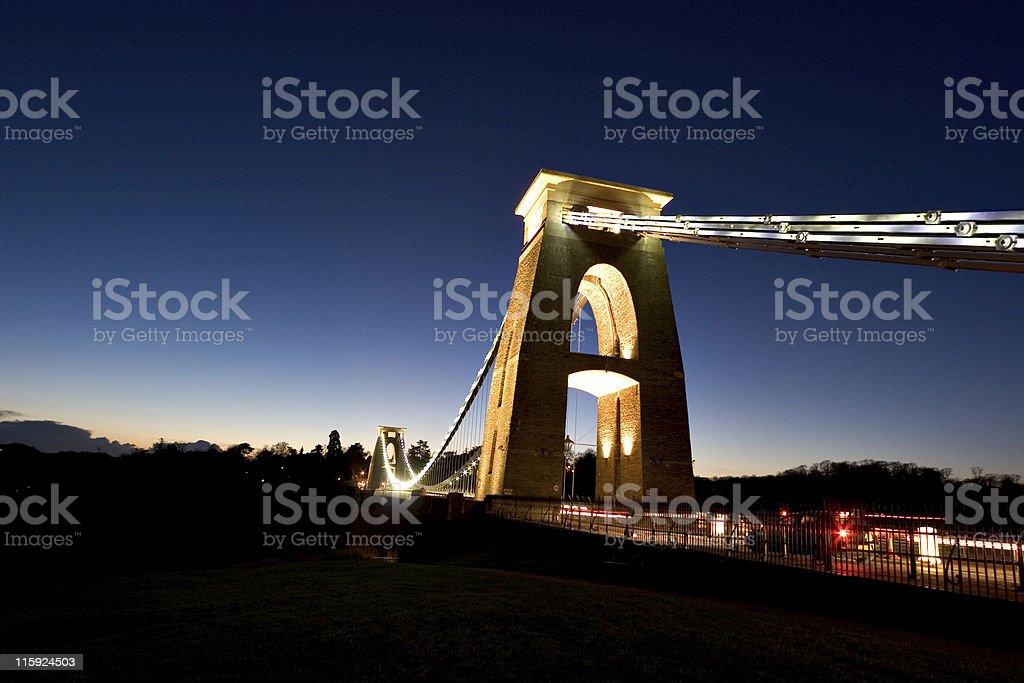 Clifton Suspension Bridge At Night stock photo