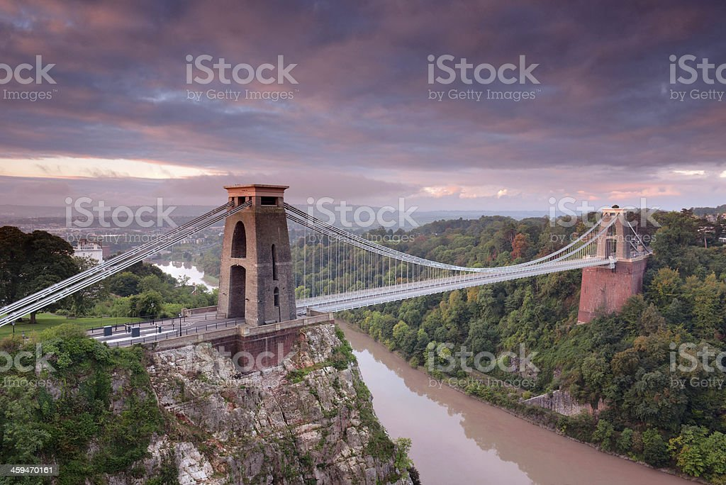 Clifton Suspension Bridge before dusk stock photo