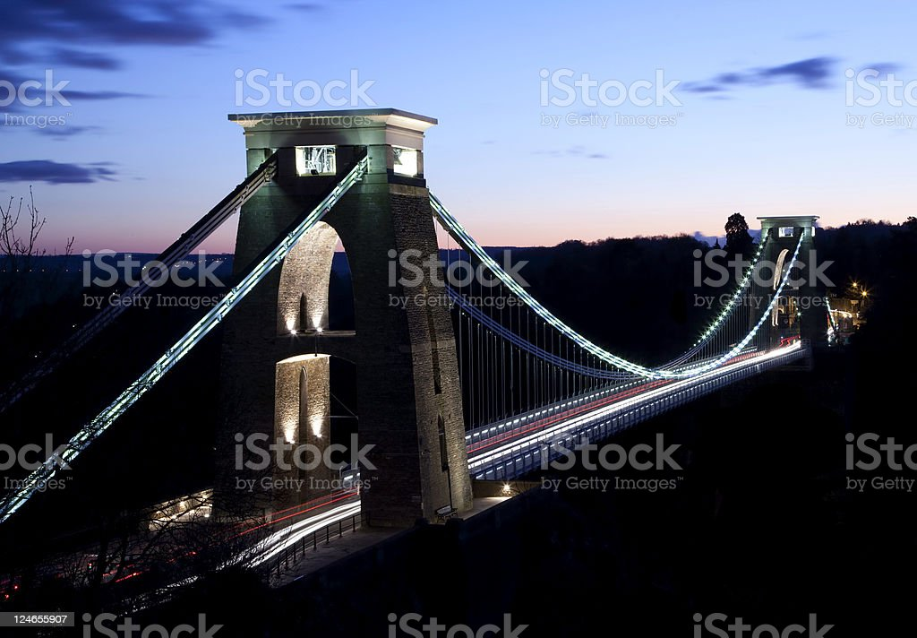 Clifton suspension bridge crossed by cars stock photo