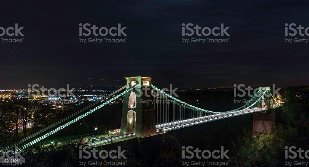 clifton suspension bridge in bristol uk long exposure night shot stock photo
