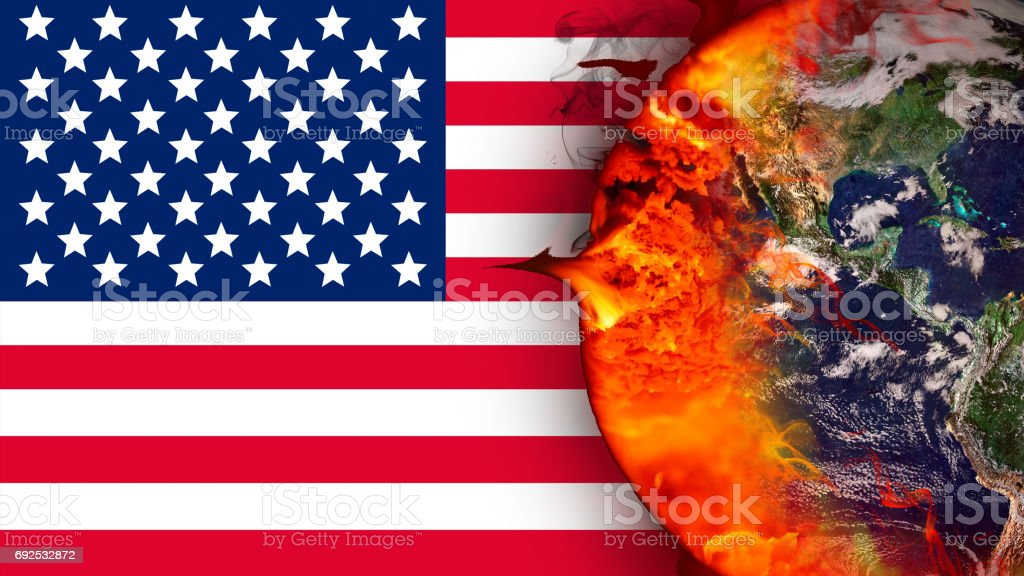 Climate change and American flag. Influence of USA on global climate. Elements of the image furnished by NASA. stock photo