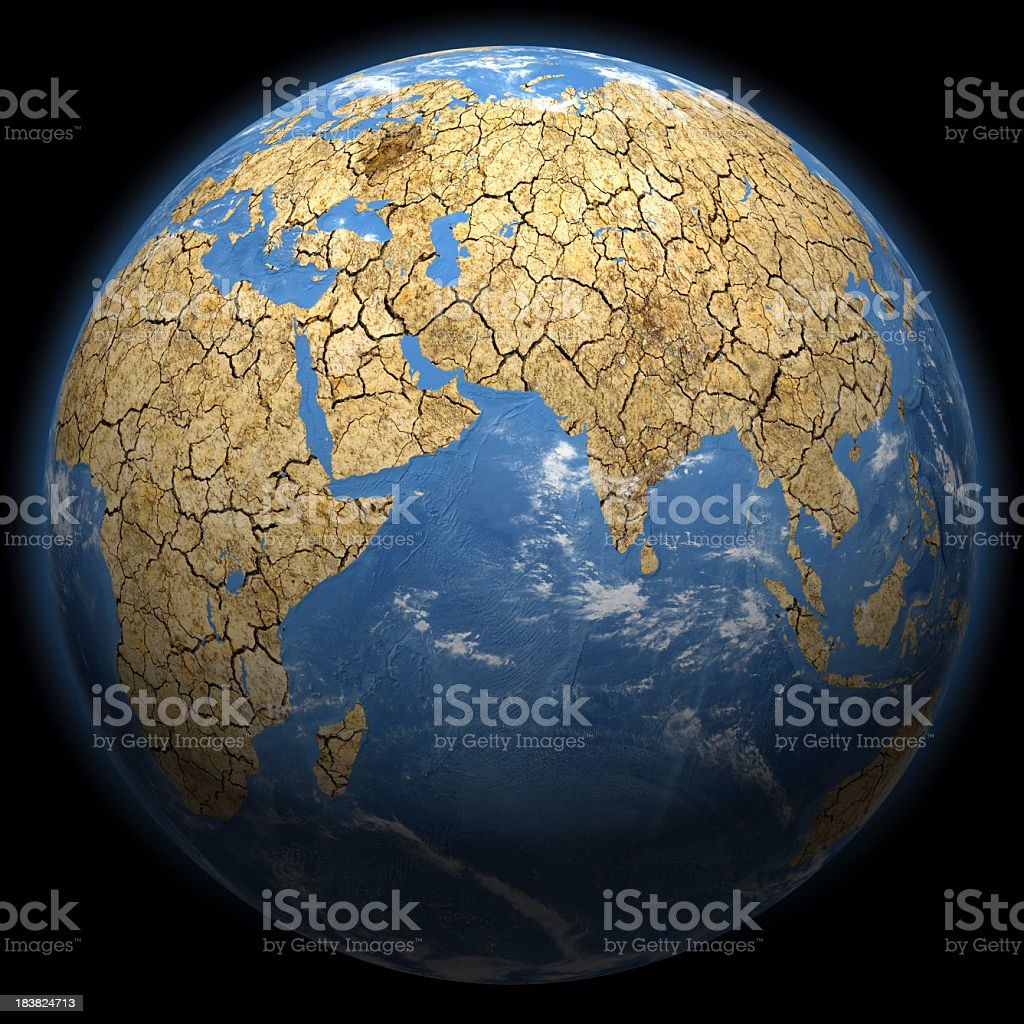 Climate Change Earth - Africa, Middle East & Asia royalty-free stock photo