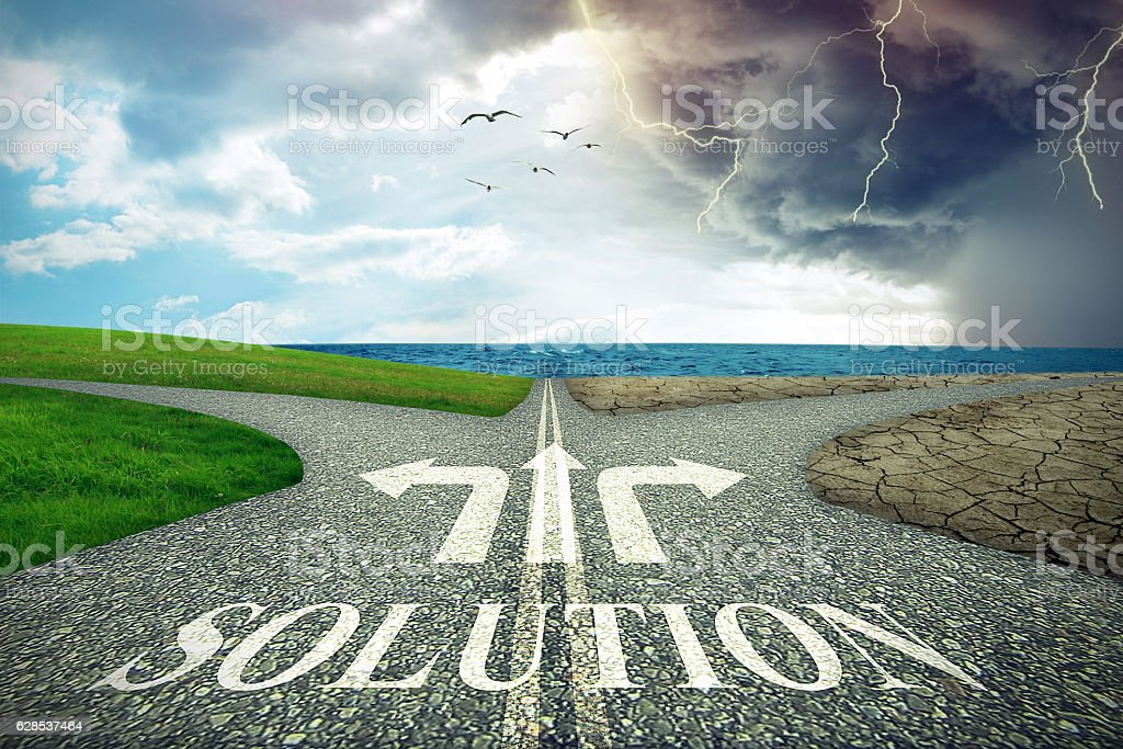 Climate change environment decision. Crossroad business solution stock photo