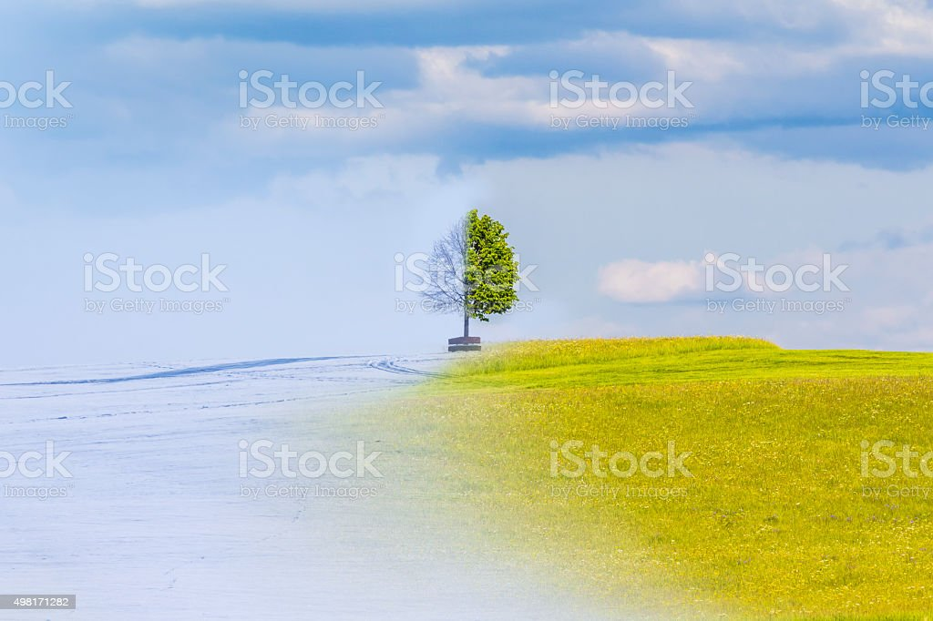 Climate change from winter to summer time over the year stock photo