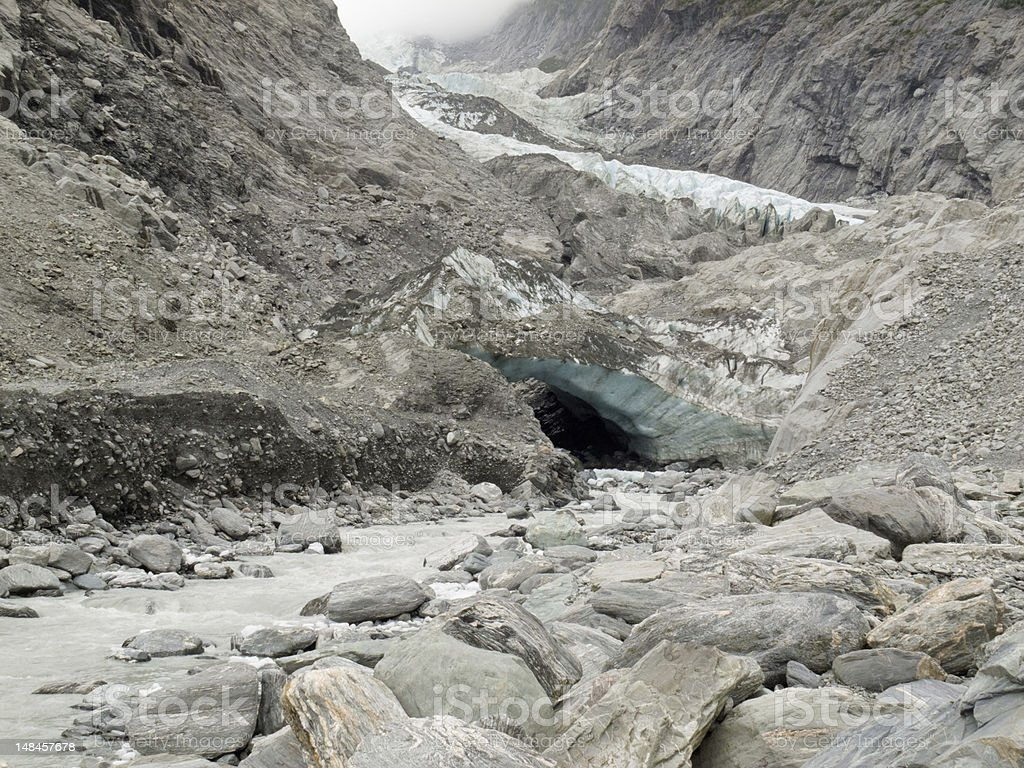 Climate change, melting glacier ice and sheer rock royalty-free stock photo