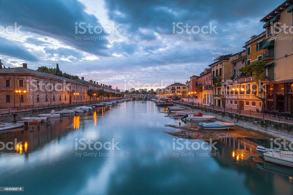 Climate port in Peschiera del Garda on Lake Garda stock photo