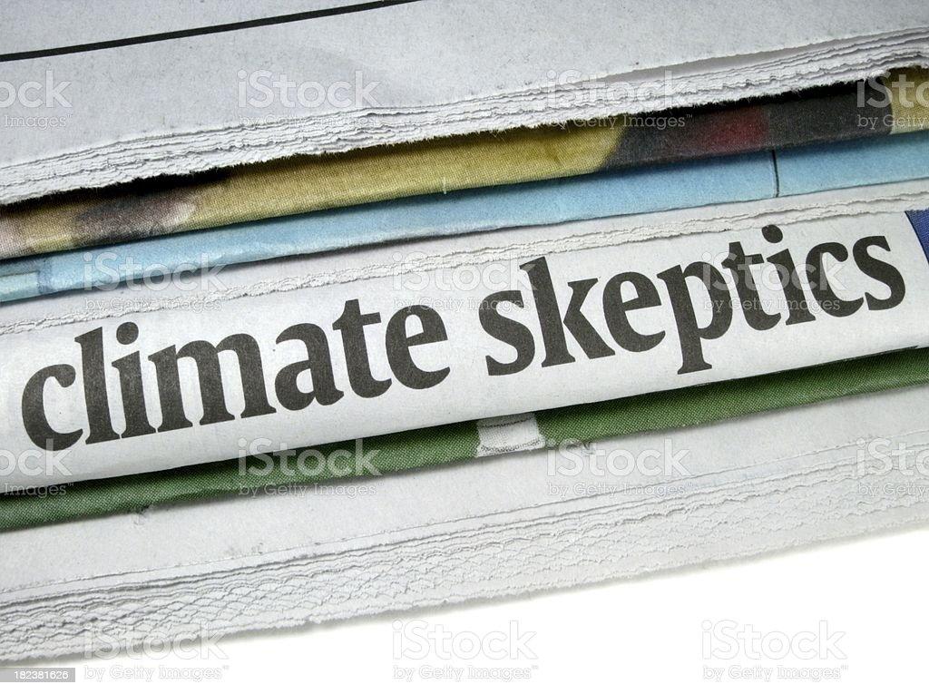 Climate Skeptics Newspaper Headline stock photo