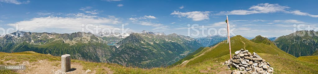 Climb every mountain Swiss border royalty-free stock photo