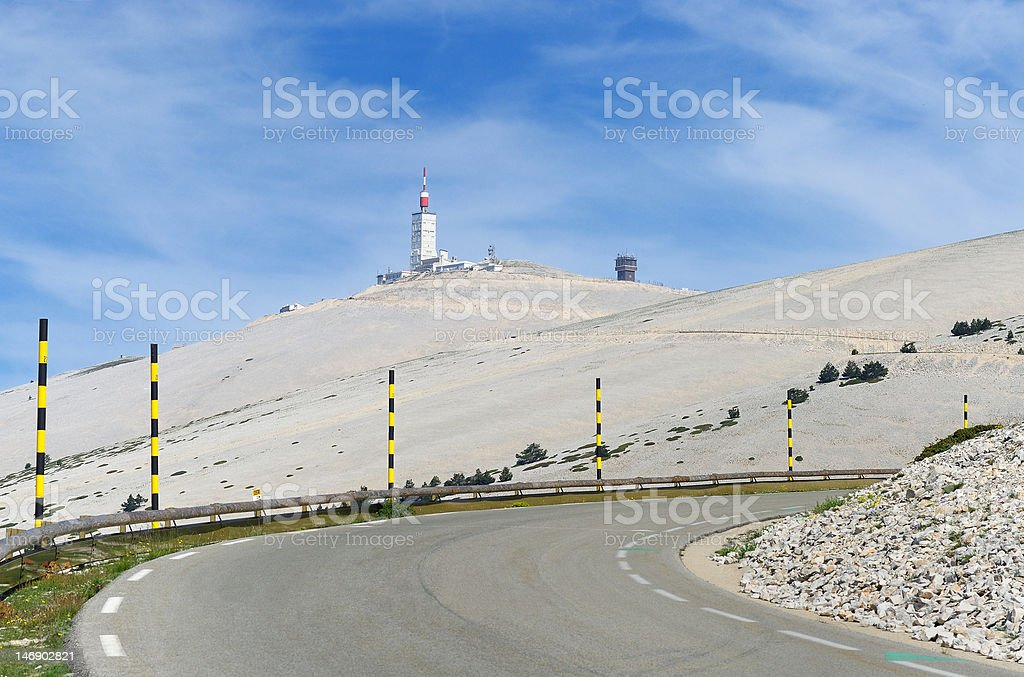 Climb of Mont Ventoux by south side (from Bedoin) stock photo