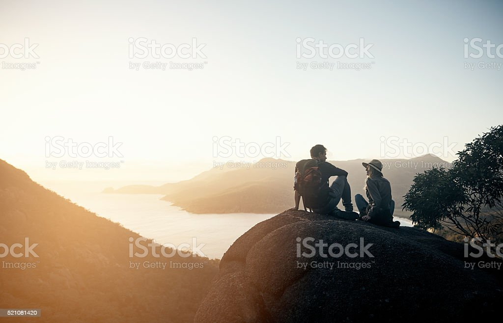 Climb was so worth it stock photo