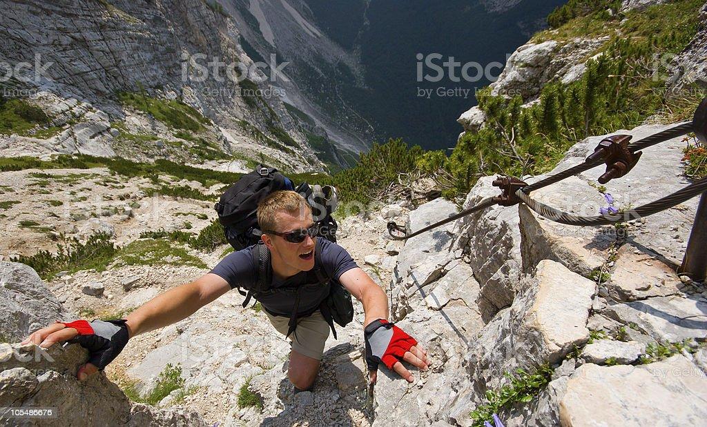 Climber climbing in Julian Alps. Triglav. Slovenia stock photo