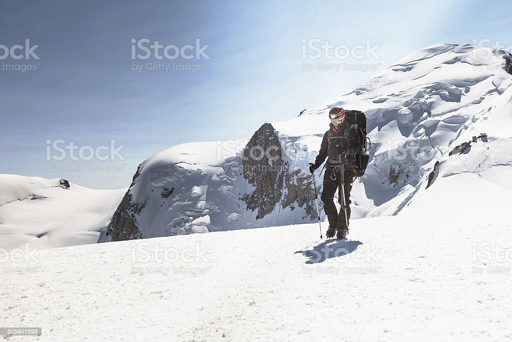 Climber descends after climbing Mont Blanc stock photo