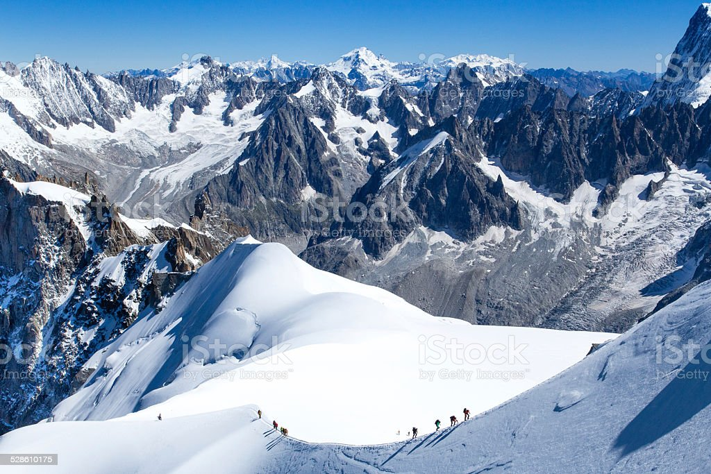 climber in Mont Blanc stock photo
