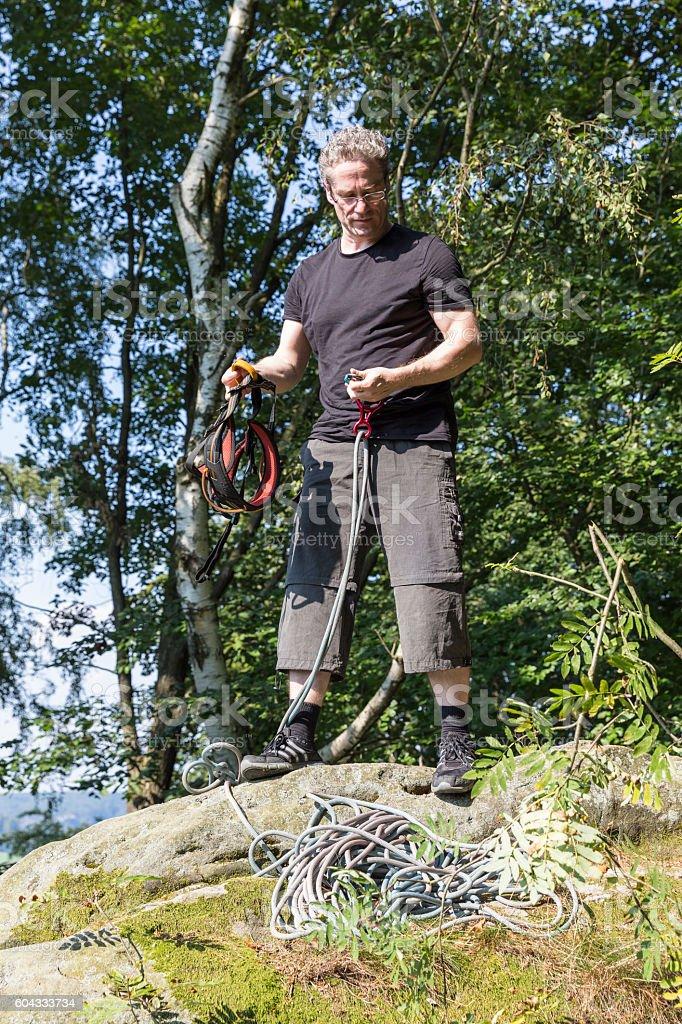 climber in Saxon Switzerland stock photo