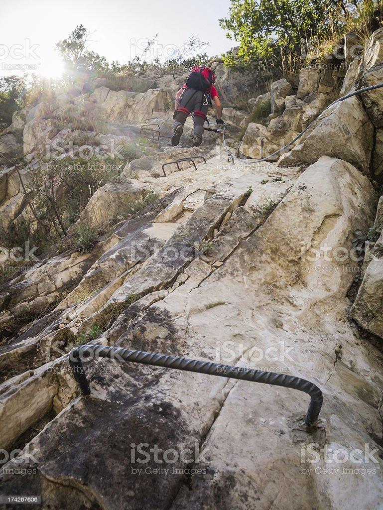 Climber on a Via Ferrata royalty-free stock photo