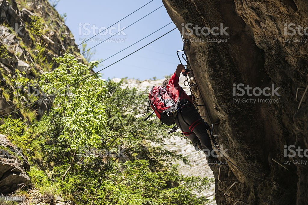 Climber on a Via Ferrata royalty-free stock photo