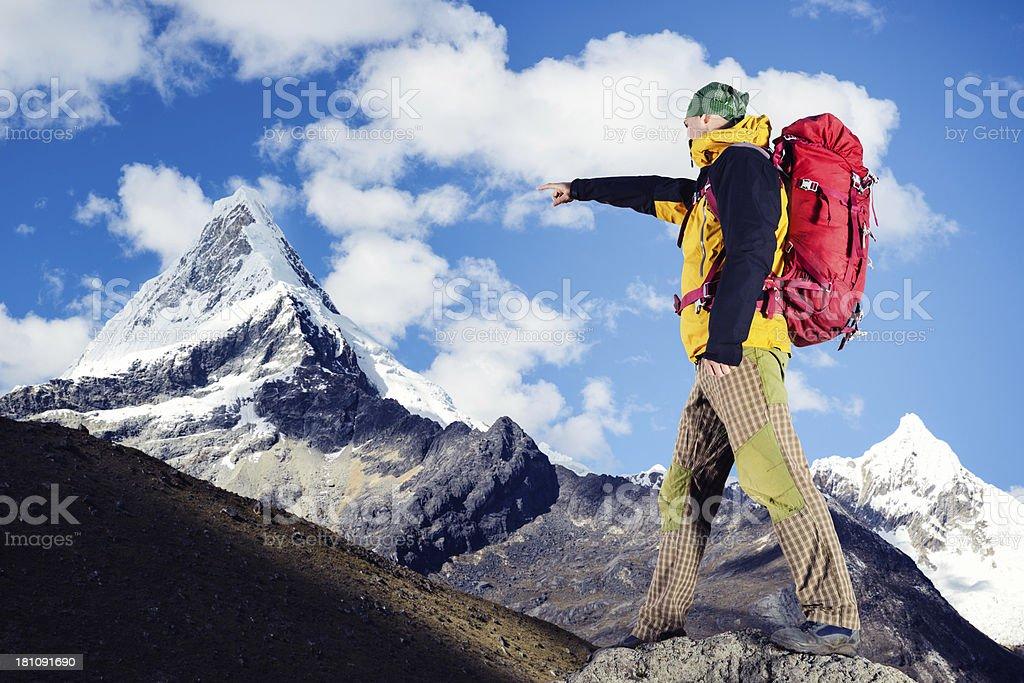 Climber Pointing royalty-free stock photo