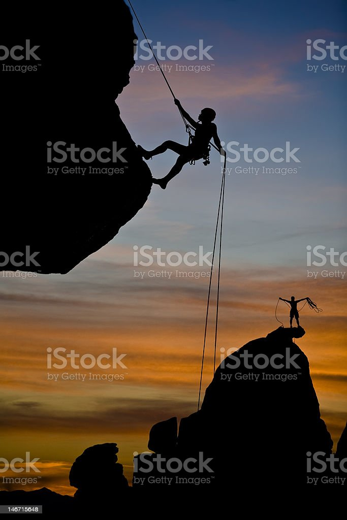 Climber rappelling. royalty-free stock photo