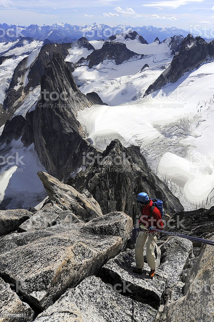 Climber rappelling royalty-free stock photo