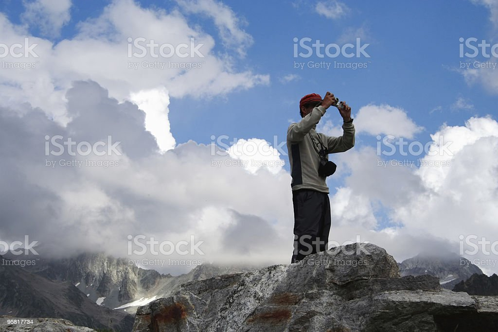 climber taking a picture royalty-free stock photo