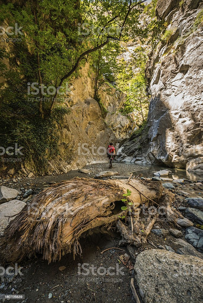 Climber Walk in a Gorge stock photo