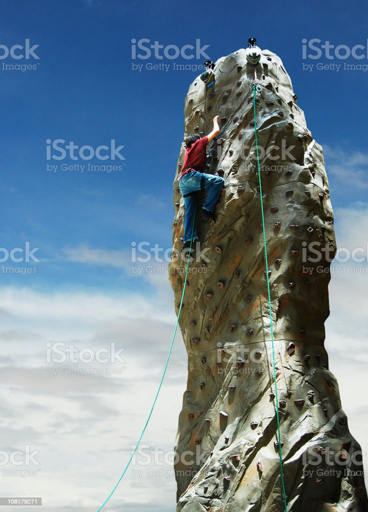 climber with aid royalty-free stock photo