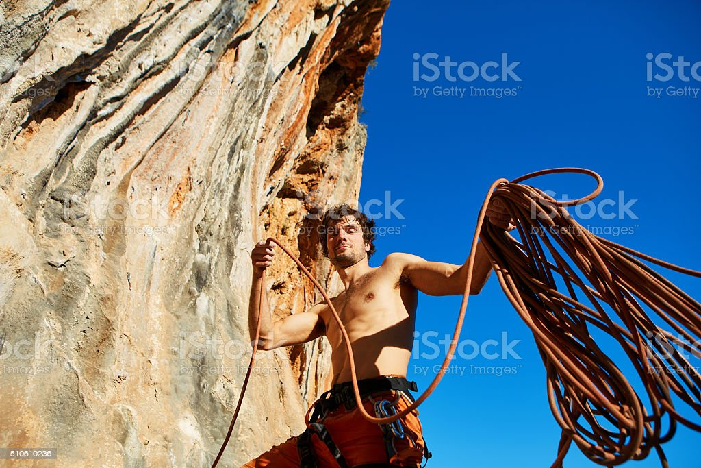 climber with the rope stock photo