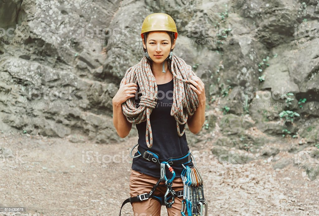 Climber woman with rope stock photo