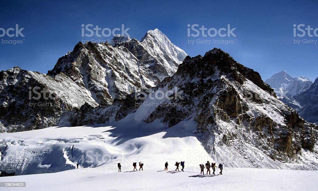 Climbers and sherpas royalty-free stock photo