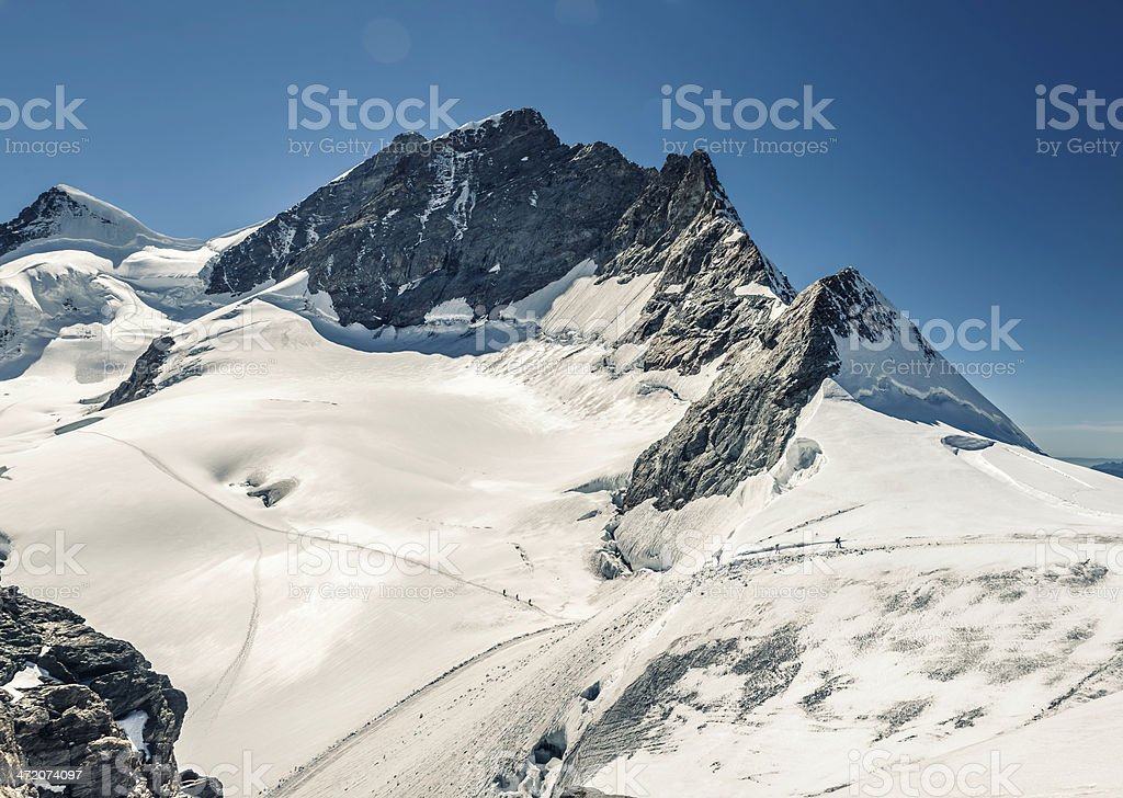 Climbers climbing on Aletsch glacier below Jungfrau summit stock photo