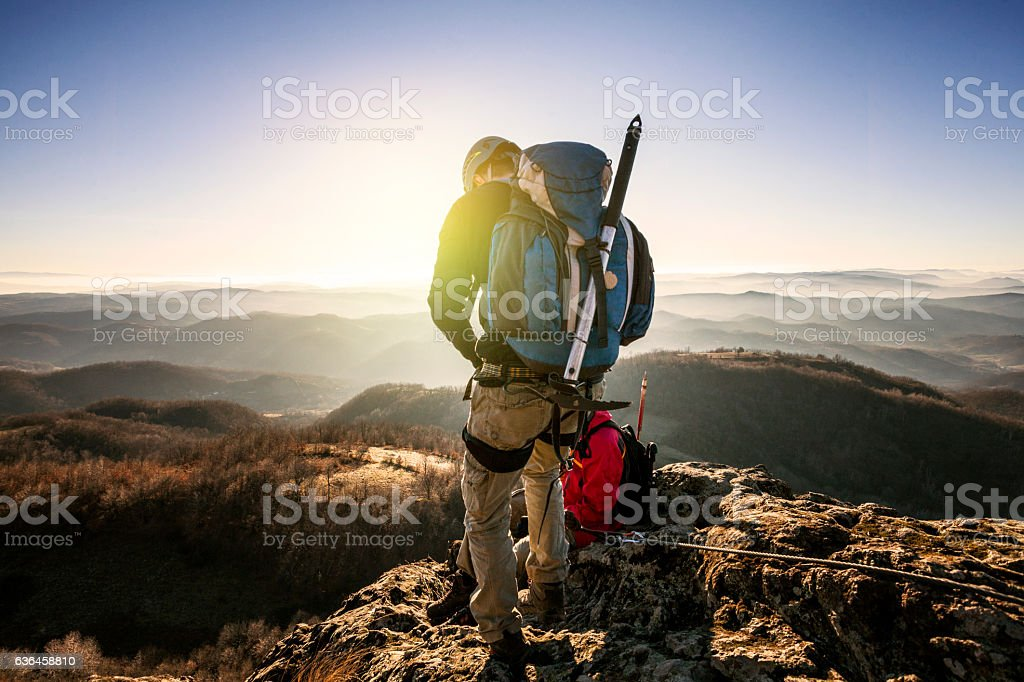Climbers getting redy stock photo