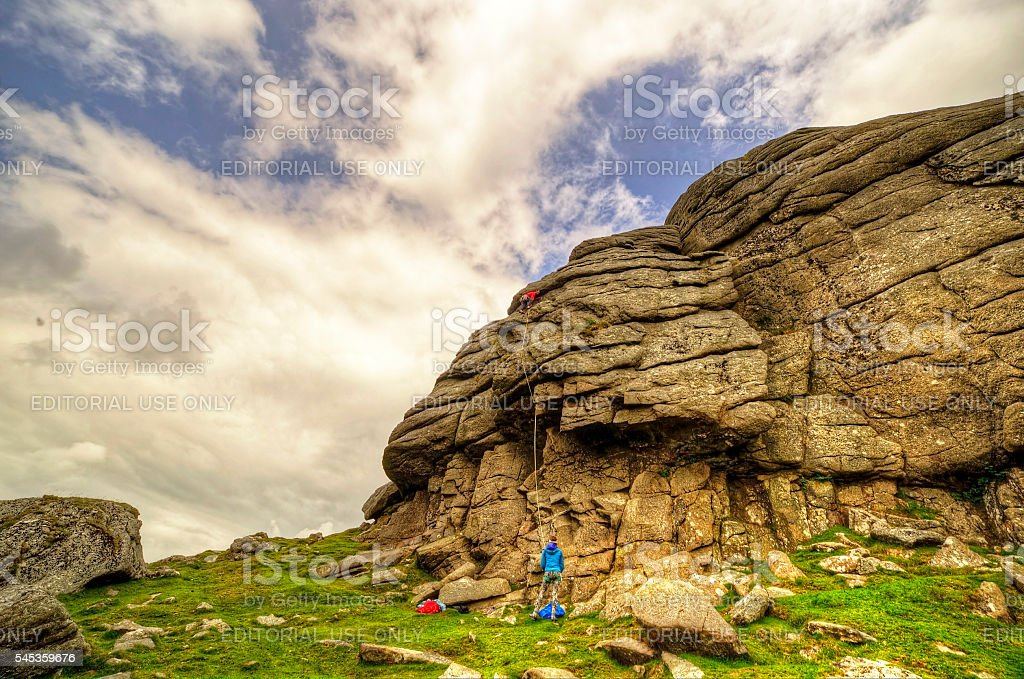 Climbers Haytor stock photo