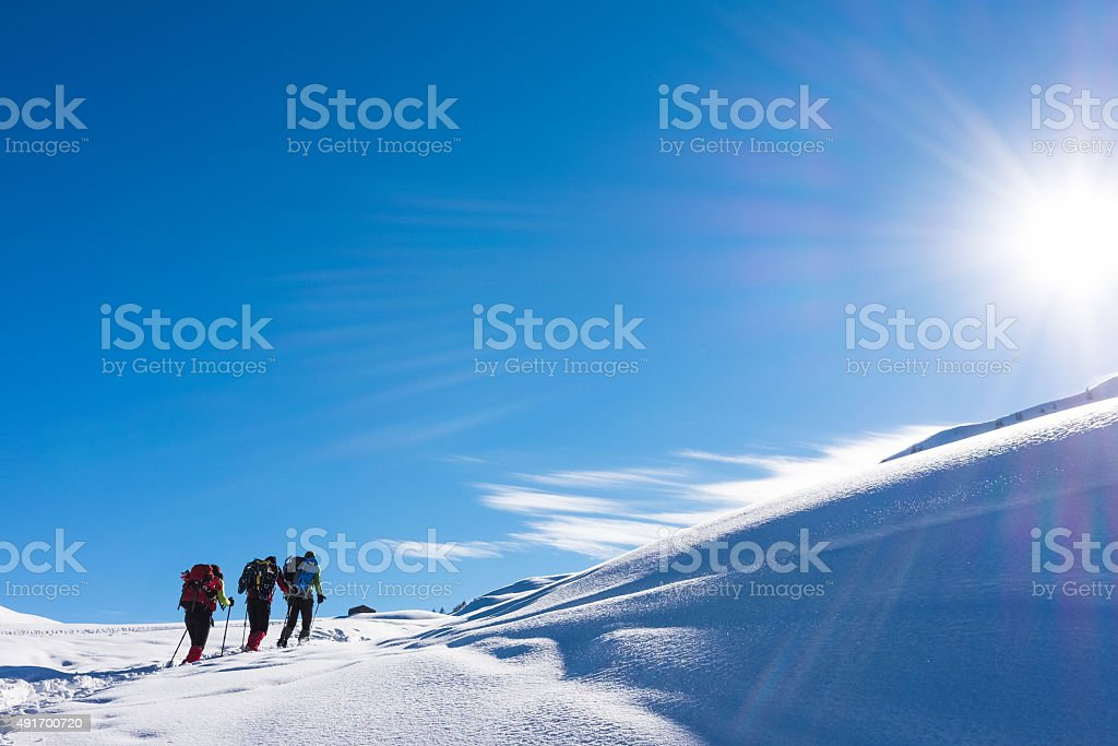 Climbers high altitudes stock photo