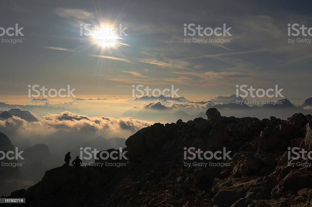 Climbers in Julian Alps stock photo