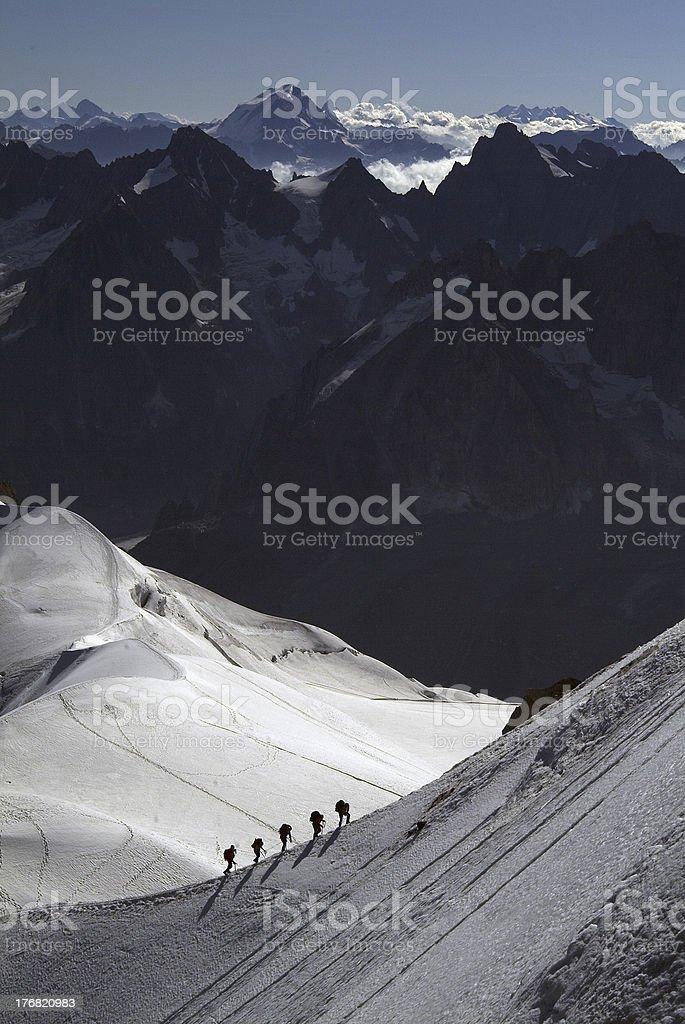 Climbers, Mont Blanc Massif royalty-free stock photo