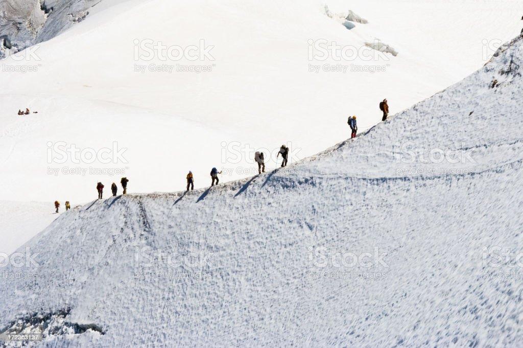 Climbers on mountain stock photo