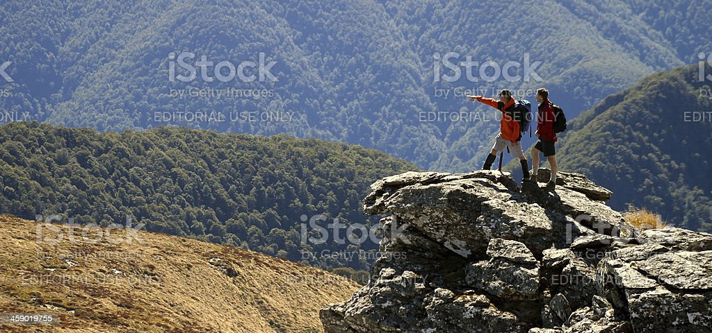 Climbers on Mt Richmond, Nelson, New Zealand. stock photo