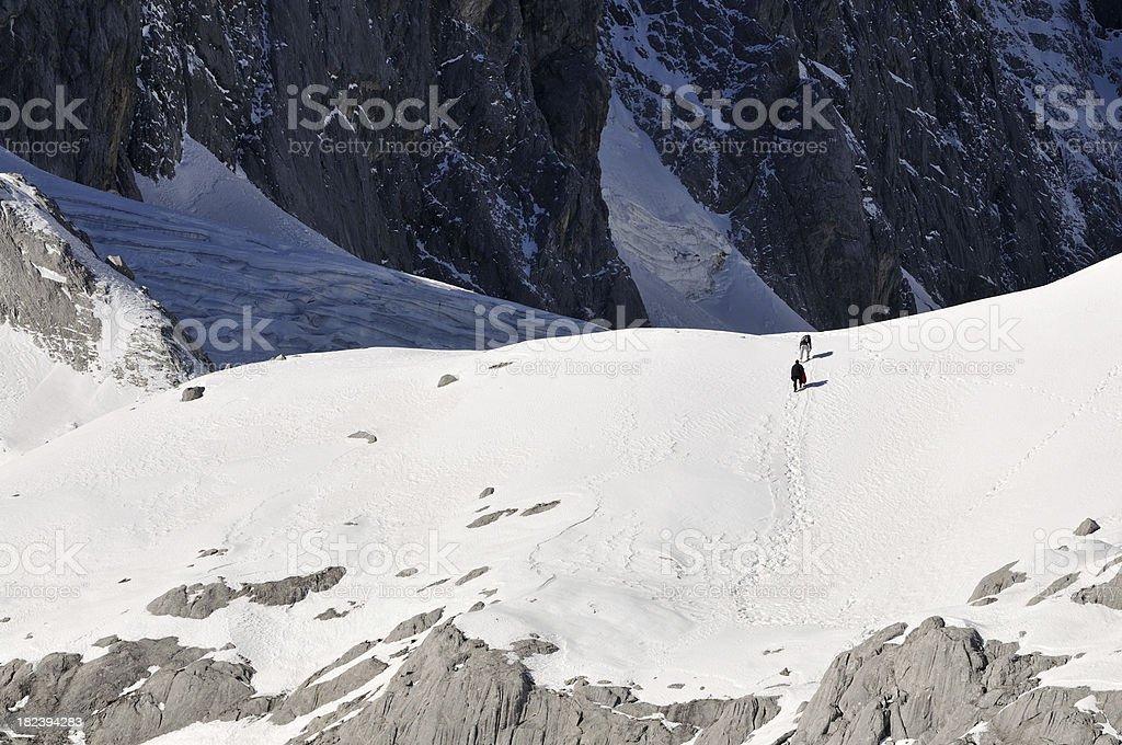 Climbers on Snow Mountain stock photo