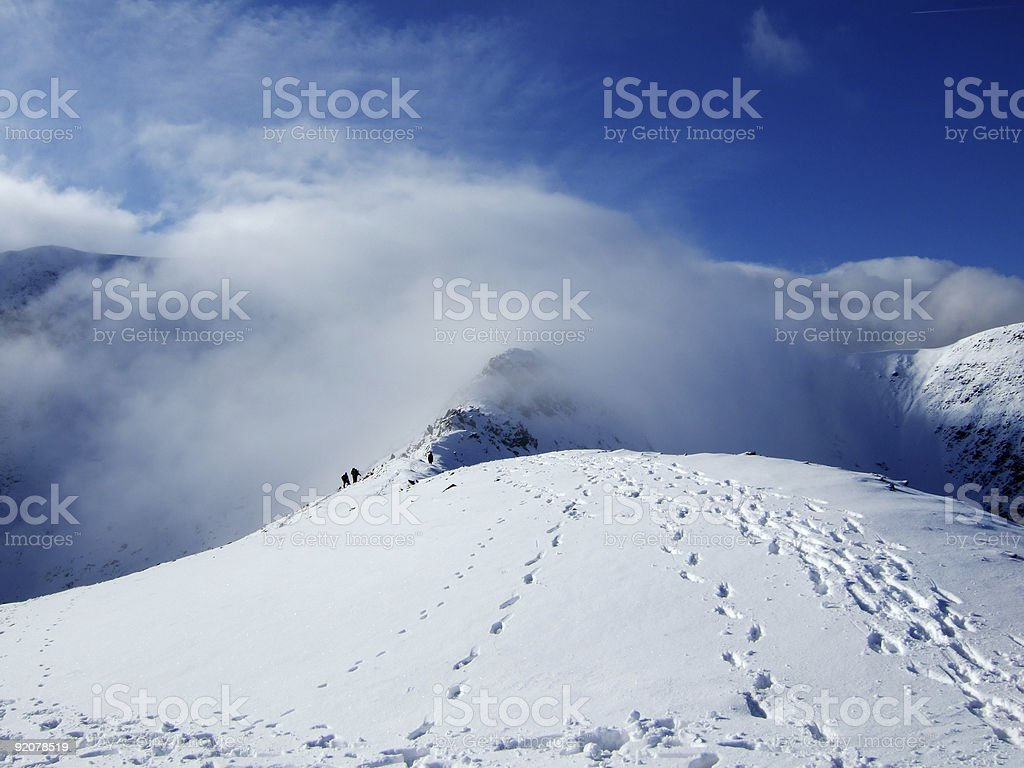 Climbers on Swirral Edge royalty-free stock photo