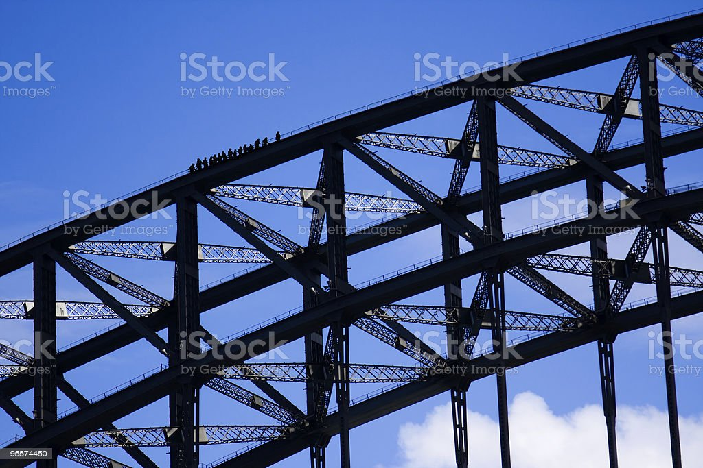 Climbers on the Sydney Harbour Bridge stock photo