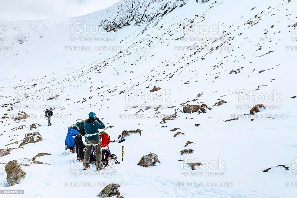 Climbers preparing for ice climb, Cairngorms, Scotland stock photo