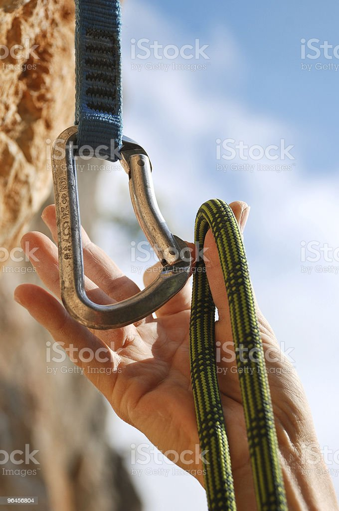 Climbers rope and quick-draws stock photo