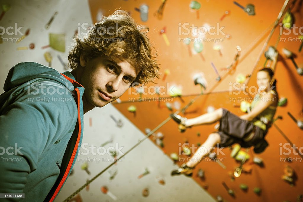 Climbers training in a rock climbing gym royalty-free stock photo
