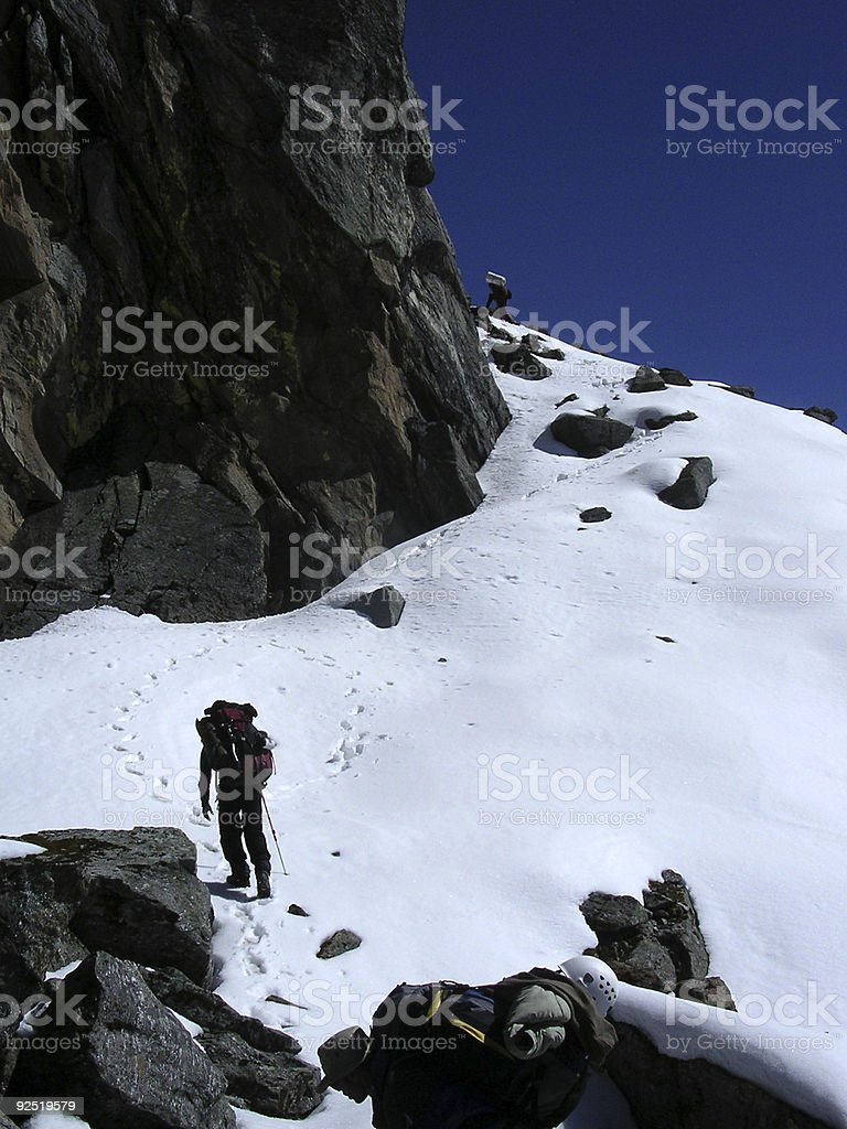 Climbing a Col royalty-free stock photo