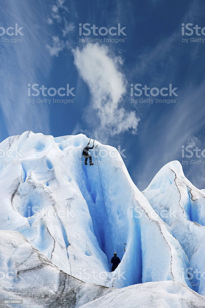Climbing a glacier in patagonia. royalty-free stock photo